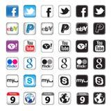 Boutons d'Apps pour la gestion de réseau sociale Photographie stock