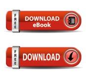 Boutons d'Ebook de téléchargement Photographie stock