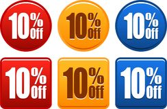 10 boutons d'offre Images stock