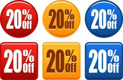 20 boutons d'offre Photos stock