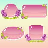 Boutons de bande dessinée avec des fleurs et des feuilles pour le GUI Photos libres de droits