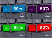 Boutons de clavier avec la remise de 50% Image libre de droits