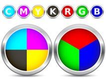 Boutons de CMYK et de RVB Images stock