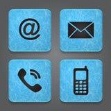 Boutons de contact - icônes réglées - email, enveloppe, pho Photos stock