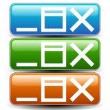 Boutons de contrôle de fenêtre d'application (Réduisez au minimum, maximisez, clôturez W Illustration Stock