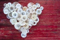 Boutons de couture de coeur d'amour Photos libres de droits