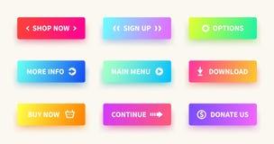 Boutons de gradient Bouton de Web d'interface utilisateurs, conception matérielle, forme rectangulaire d'ui, action d'appli soume illustration de vecteur