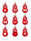 Boutons de joueur de Burnig (rouges) illustration libre de droits