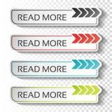 Boutons de lire la suite avec l'indicateur de flèche Labels noirs, bleus, de rouge et de vert Autocollants avec l'ombre sur le fo Photographie stock