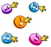 Boutons de musique Photos libres de droits