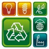 Boutons de protection de l'environnement Photo stock