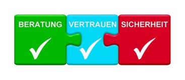 3 boutons de puzzle montrant l'allemand de consultation de sécurité de confiance illustration de vecteur
