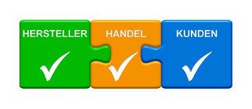 3 boutons de puzzle montrant l'allemand de Retail Consumer de fabricant Photos stock
