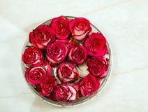 Boutons de rose rouges dans le vase en verre Images libres de droits