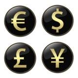 Boutons de symboles monétaire Images libres de droits