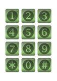 Boutons de téléphone dans la conception verte de gradient Photographie stock