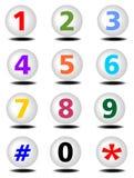 Boutons de téléphone réglés avec des nombres colorés Photos stock