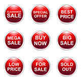 Boutons de vente Images stock