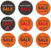 Boutons de vente de Black Friday Image stock