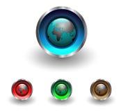 Boutons de Web avec le globe de la terre Photographie stock