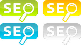 Boutons de Web avec le texte de SEO. Images stock