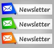 Boutons de Web de conception de papier de bulletin d'information Images libres de droits