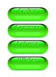 Boutons de Web pour la conception Les quatre saisons, est faites dans la couleur verte illustration libre de droits