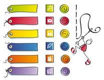 Boutons drôles, et symboles pour le Web de couture Image stock