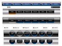 Boutons editable métalliques de site Web de vecteur. Photo stock