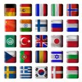Boutons en bois, drapeaux Photos stock
