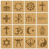Boutons en bois religieux de symboles de religion Photographie stock libre de droits