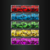 Boutons en cristal colorés de vecteur décoratif longs réglés Bannières horizontales pour le jeu ou le web design Images stock