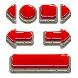 Boutons en pierre rouges de bande dessinée pour le jeu ou le web design Images libres de droits