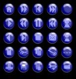 Boutons en verre bleus sur un fond noir Images stock
