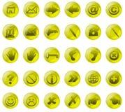 Boutons en verre de Yelow Image libre de droits