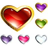 Boutons en verre en forme de coeur colorés Photographie stock