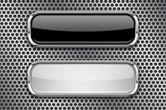 Boutons en verre noirs et blancs avec le cadre en métal, sur le fond perforé illustration stock