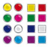 Boutons en verre ronds et carrés pour le Web Photographie stock