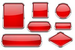 Boutons en verre rouges avec le cadre de chrome Ensemble coloré d'icônes brillantes du Web 3d illustration libre de droits