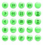 Boutons en verre vert Image libre de droits