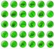Boutons en verre vert Images libres de droits
