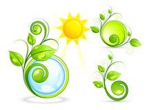 Boutons et soleil d'Eco illustration stock
