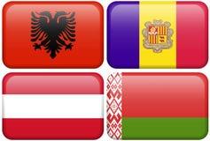 Boutons européens d'indicateur : l'Albanie, Andorre, Autriche, Photographie stock libre de droits