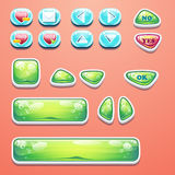 Boutons fascinants réglés avec un bouton CORRECT, boutons oui et non à la conception et au web design de jeux d'ordinateur Photos stock