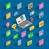Boutons isométriques d'ensemble et d'ordinateur de collection de bureau du vecteur 3d d'icônes de Web pour le site Web avec iconi Image stock