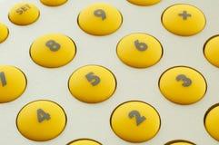 Boutons jaunes Photos libres de droits