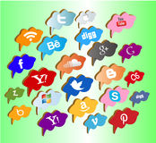 Boutons/labels/icônes sociaux de media Photos libres de droits