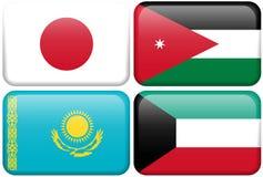 Boutons : Le Japon, Jordanie, Kazakhstan, Kowéit Photo libre de droits