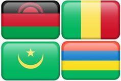 Boutons : Le Malawi, Mali, Mauritanie, Îles Maurice Photographie stock libre de droits