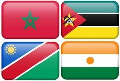 Boutons : Le Maroc, Mozambique, Namibie, Nigerien Images libres de droits